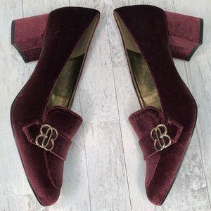 Bandolino Burgundy Velvet Loafer Heels